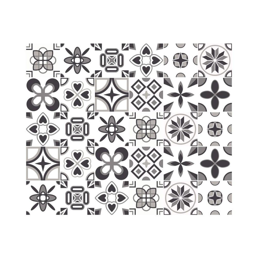Sada 24 nástěnných samolepek Ambiance Wall Decal Cement Tiles Azulejos Erico, 10 x 10 cm