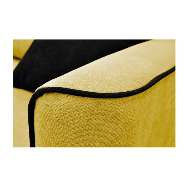 Hořčicově žlutá trojmístná rozkládací pohovka se světlými nohami Mazzini Sofas Ivy