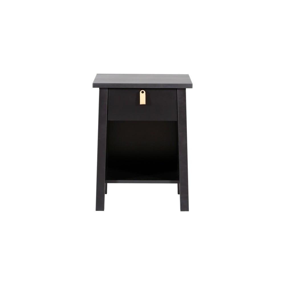Černý dřevěný noční stolek Wermo Saima