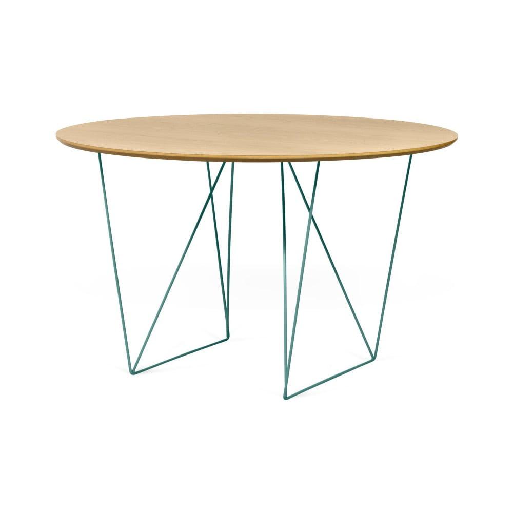 Jídelní stůl v dekoru dubového dřeva se zeleným podnožím TemaHome Row, Ø120cm