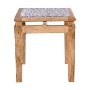 Taburet din lemn de mango cu șezut gri deschis House Nordic