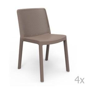 Sada 4 hnědých zahradních židlí Resol Fresh