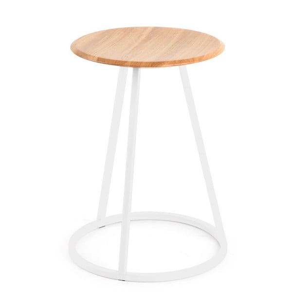 Stolička s dubovou deskou a bílou kovovou konstrukcí HARTÔ Gustave, výška 45cm