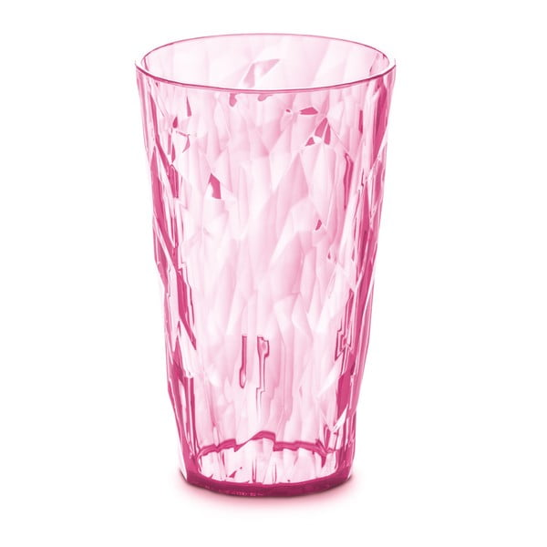 Růžová plastová sklenice Tantitoni Crystal, 400 ml