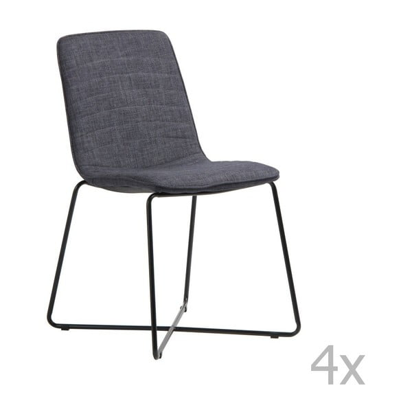 Sada 4 šedých židlí Design Twist Ibiza