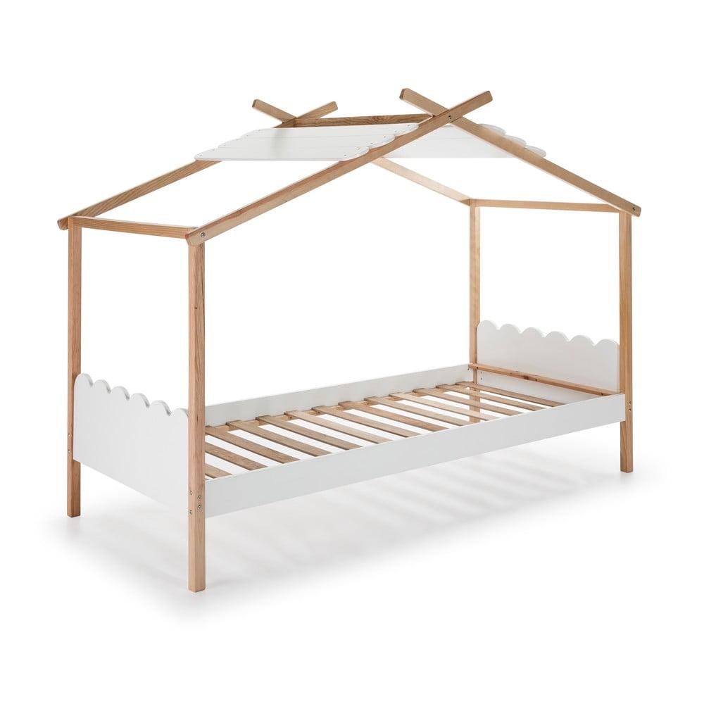 Bílá dětská postel s konstrukcí z borovicového dřeva Marckeric Nuvem,90x190cm
