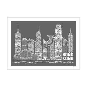 Plakát Hong Kong Grey&White, 50x70 cm