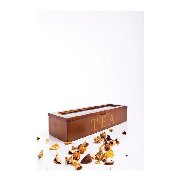 Dřevěná krabička na čaje Tea, 5 přihrádek