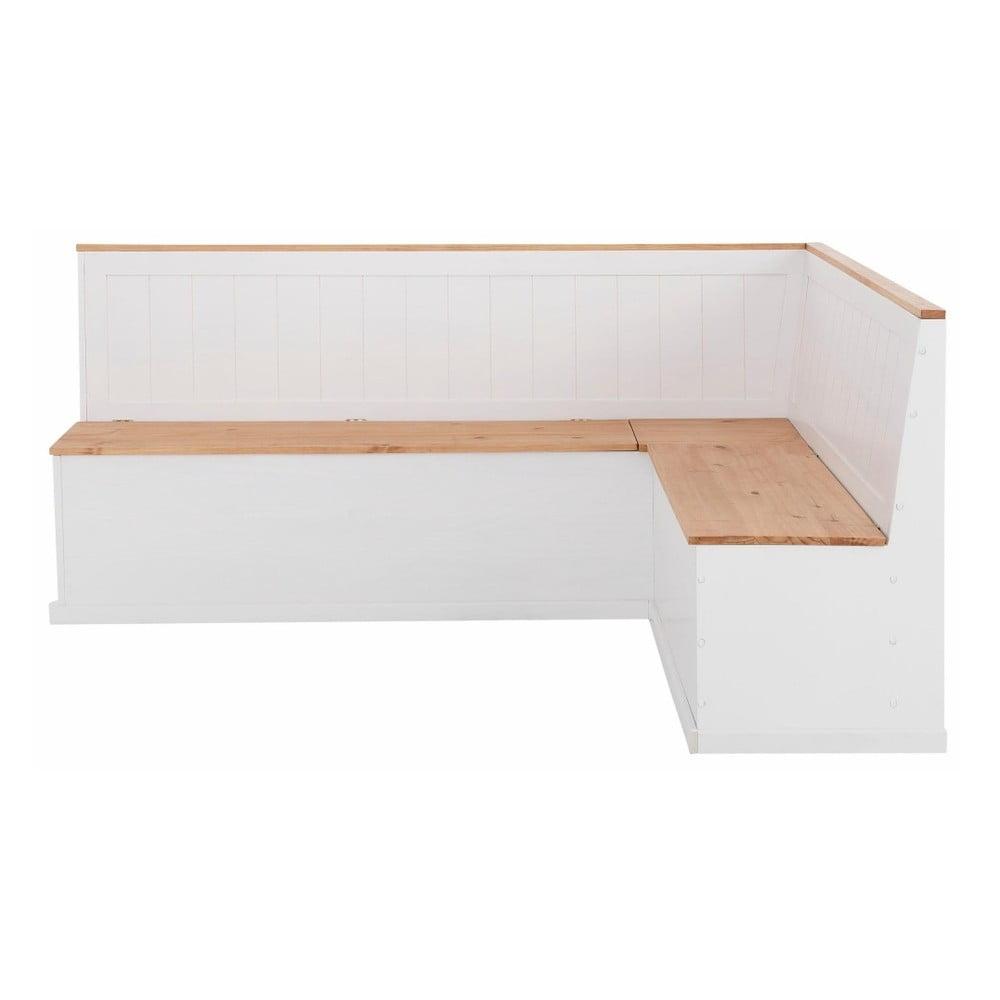 Bílá rohová lavice z masivního borovicového dřeva Støraa Silas