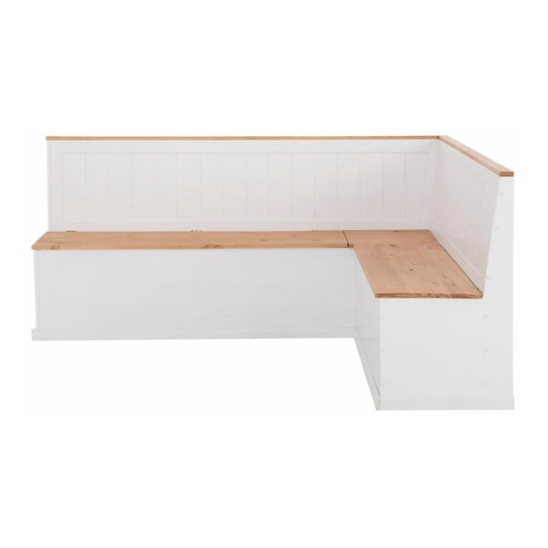 Biała ławka narożna z litego drewna sosnowego Støraa Silas