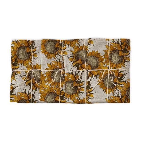 Sunflower 4 db szövet szalvéta lenkeverékkel, 43 x 43 cm - Linen Couture