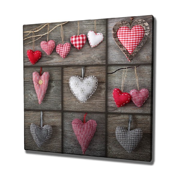 Nástěnný obraz na plátně Hearts, 45 x 45 cm