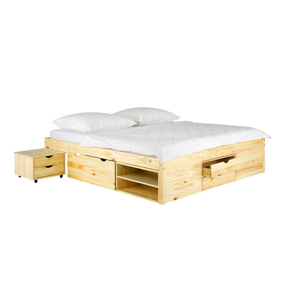Postel z borovicového dřeva SOB Pintea, 140 x 200 cm
