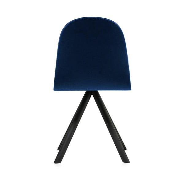 Scaun cu picioare negre Iker Mannequin Triangle, albastru închis