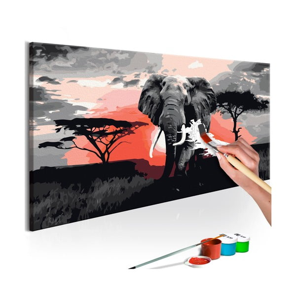 DIY set na tvorbu vlastního obrazu na plátně Artgeist Elephant, 80x40 cm