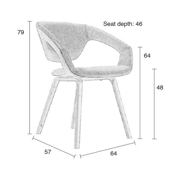 Sada 2 šedých židlí s černými nohami Zuiver Flexback