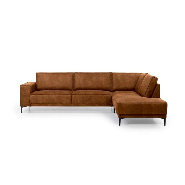 Brązowa sofa narożna Softnord Copenhagen, prawostronna