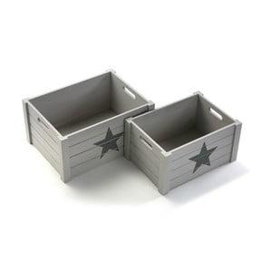 Set de două cutii din lemn Versa Star, gri deschis