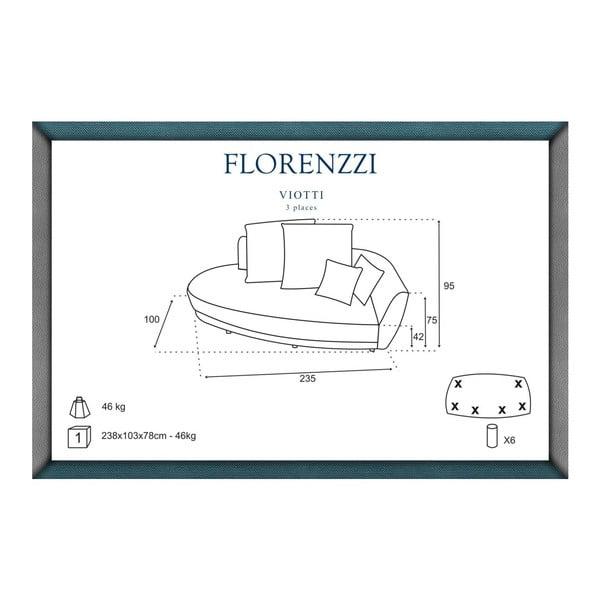 Šedo-žlutá pohovka pro tři Florenzzi Viotti s opěradlem na pravé straně