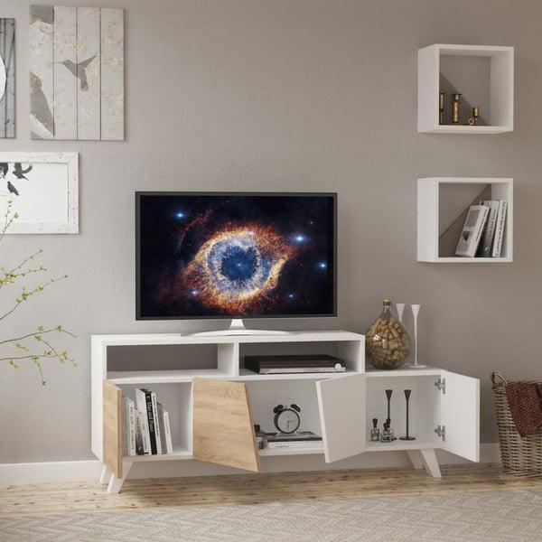 Set bílého TV stolku a 2 nástěnných poliček Homitis Cafune