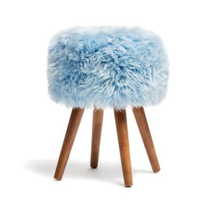 Stolička s modrým sedákem z ovčí kožešiny Royal Dream, ⌀30cm
