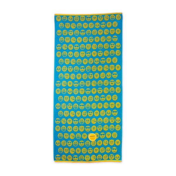 Zeleno-žltá plážová bavlnená osuška Bergner Emoticon, 75×150cm