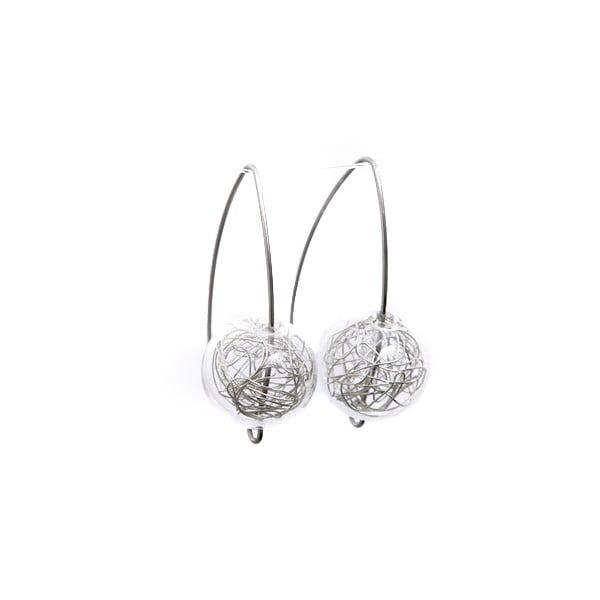 Cercei cu mărgele din sticlă Ko-ra-le Almonds Wired, argintiu