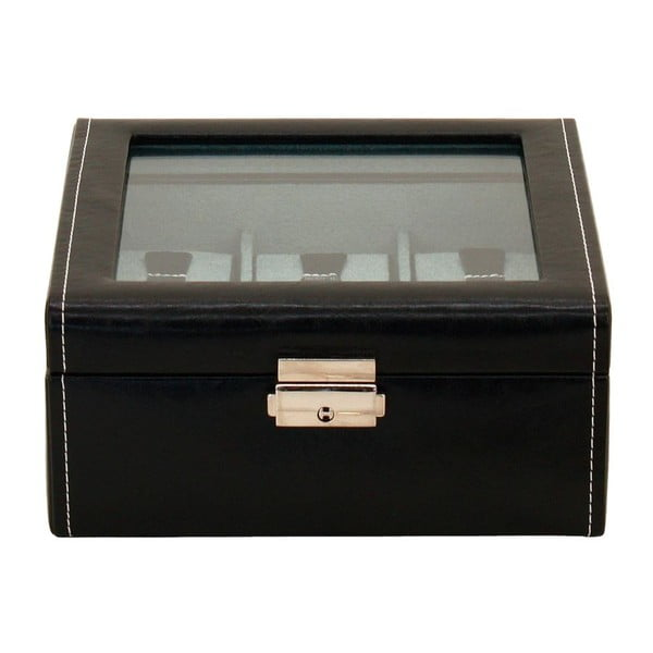 Černý box na 6 hodinek s průhledným víkem Friedrich Lederwaren Bond
