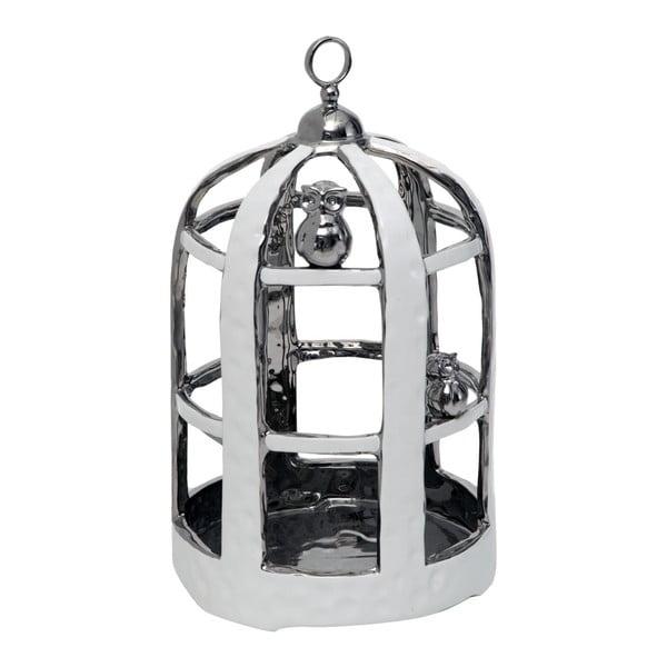 Keramická dekorativní klec ve stříbrné barvě Mauro Ferretti, 22x36cm