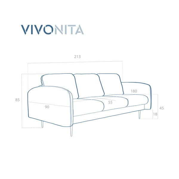 Bledě modrá 3místná sedačka Vivonita Skolm