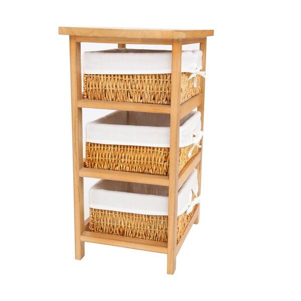 Police ze dřeva paulownia se 3 úložnými košíky Premier Housewares Honey