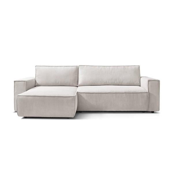 Canapea de colț, extensibilă Bobochic Paris NIHAD, alb - crem