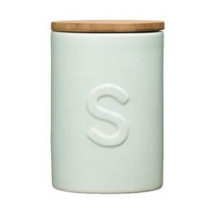 Světle modrá dóza na cukr s bambusovým víkem Premier Housewares Fenwick