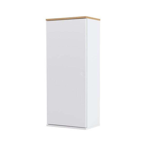 Biała 1-drzwiowa szafka z detalami w dekorze drewna dębowego i 3 półkami Tenzo Dot, wys. 95 cm
