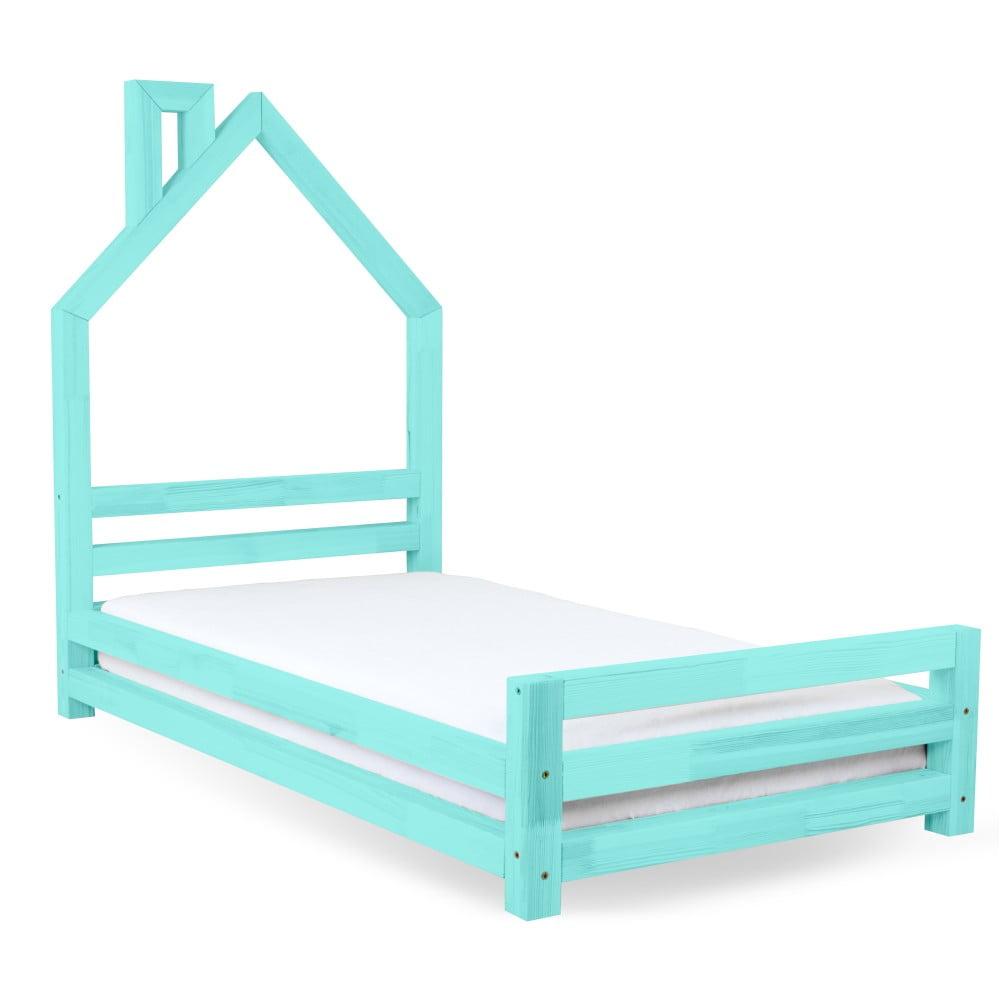 Dětská tyrkysová postel z borovicového dřeva Benlemi Wally, 80 x 160 cm
