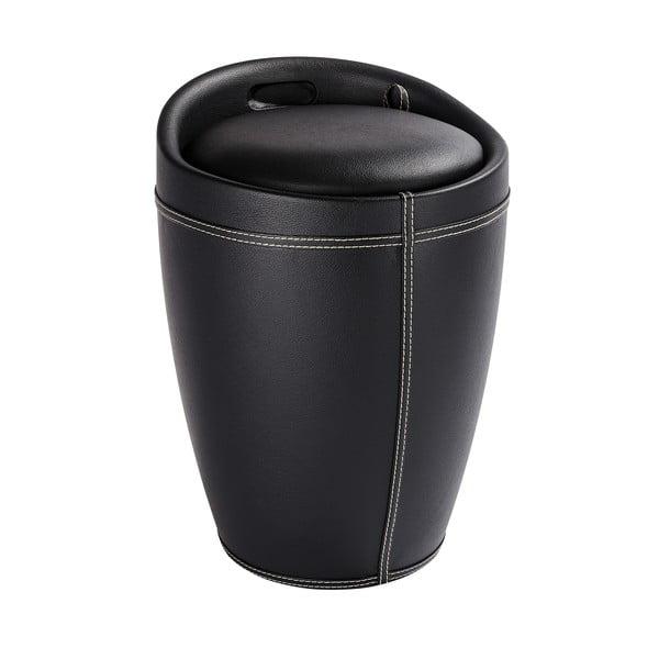 Černý koš na prádlo a taburetka v jednom Wenko Linen Look, 20 l