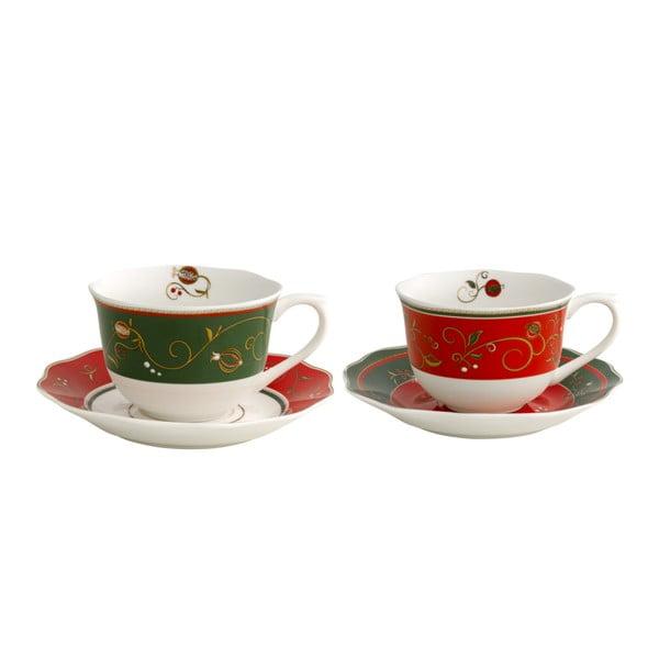 Set 2 šálkov s tanierikom s vianočným motívom Brandani Tempo di Festa