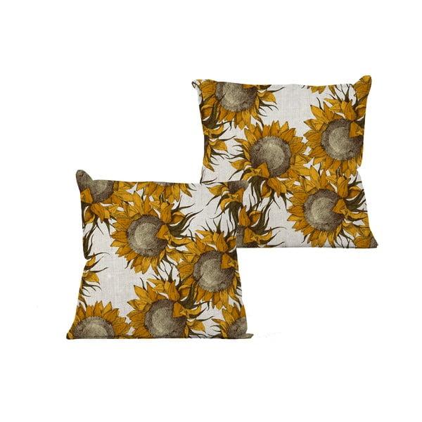 Béžový vankúš s motívom slnečníc Linen Couture Sunflower, 45 x 45 cm