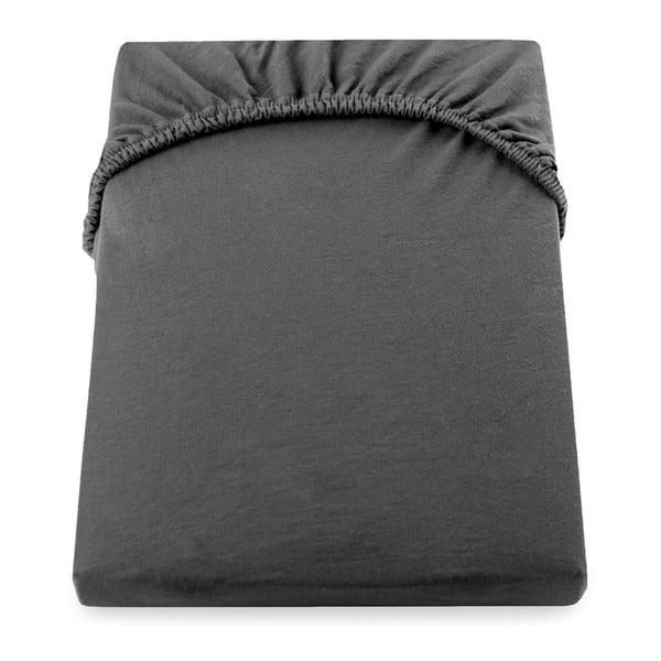 Cearșaf de pat cu elastic DecoKing Nephrite, 80–90 cm, gri închis