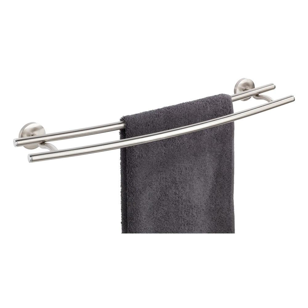 Produktové foto Dvojitý nástěnný držák na ručníky z matného nerezového kovu Wenko Cuba Rail