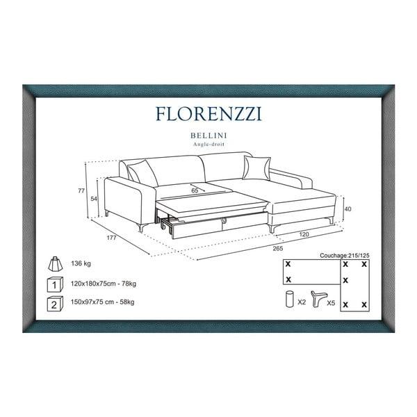 Černá rozkládací pohovka Florenzzi Bellini s lenoškou na pravé straně