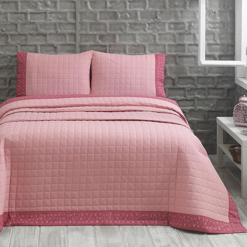 Fotografie Přehoz s polštáři Jolly, 240x250 cm, růžový