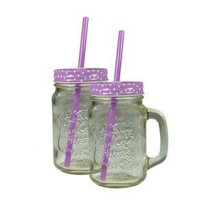 Sada 2 sklenic s fialovým krytem a brčkem JOCCA Straw, 430 ml