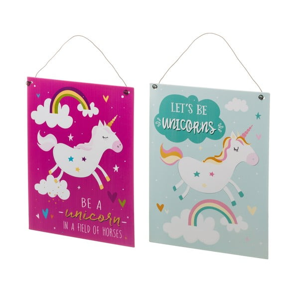 Sada 2 závěsných kovových plakátů Unimasa Unicorn,19x24cm