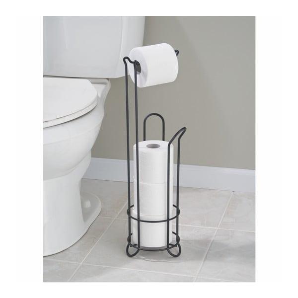 Černý ocelový stojan na toaletní papír se zásobníkem InterDesign, výška 65 cm