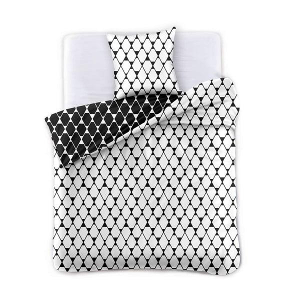 Černo-bílé oboustranné povlečení na dvoulůžko z mikrovlákna DecoKing Hypnosis Rhombuses, 230 x 220 cm