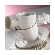 Sada 6 porcelánových hrníčků s podšálky Simple White