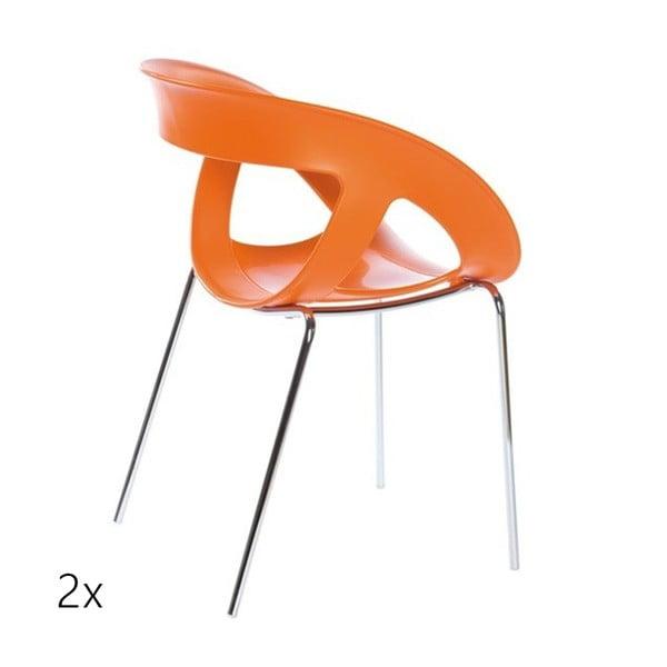 Set 2 oranžových židlí Moema, chromové nohy