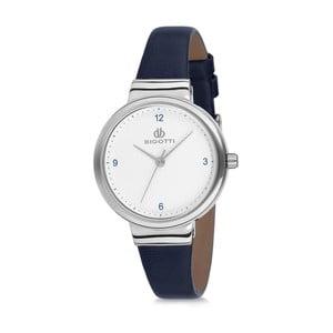 Dámské hodinky s tmavě modrým koženým řemínkem Bigotti Milano Silverina