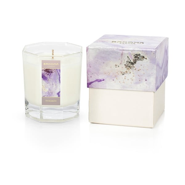 Vonná sviečka v škatuľke s vôňou hyacintu a jazmínu Bahoma London Octagonal Candle in Rigid Box